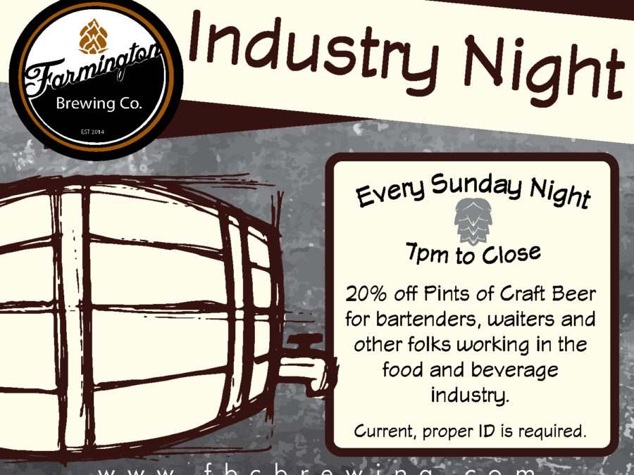 industry night is every sunday from 7pm to close. 20% off pints of craft beer to people in the food and beverage service industry!