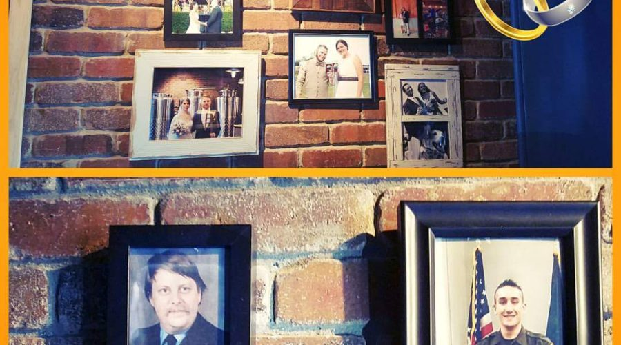 military photos and wedding photos hanging on the brick wall at farmington brewing company