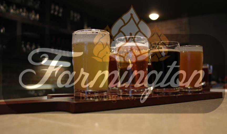 flight of beers with farmington brewing company logo